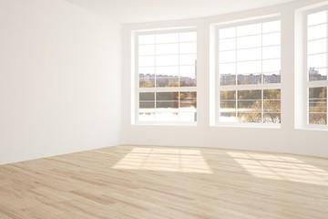 White empty room with urban landscape in window. Scandinavian interior design. 3D illustration