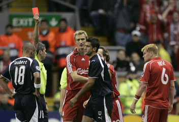 Menegazzo of Girondins Bordeaux is sent off during their Champions League Group C soccer match against Liverpool in Liverpool