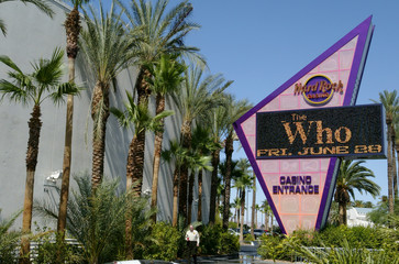 HARD ROCK HOTEL & CASINO MARQUEE ADVERTISES THE WHO CONCERT IN LASVEGAS.