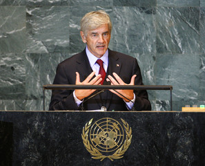 Cannon, Minister for Foreign Affairs of Canada, speaks during the United Nations General Assembly in New York