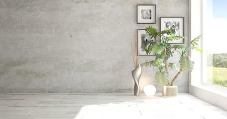 White empty room with green landscape in window. Scandinavian interior design. 3D illustration