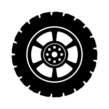 Black auto tire - stock vector