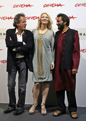 Blanchett attends a photocall with movie director Kapur and actor Rush to present their latest movie 'Elizabeth: The Golden Age' at the Rome International Film Festival