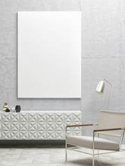 Close up white poster in hipster interior design, 3d illustration