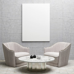 Mock up interior design with white poster, 3d illustration