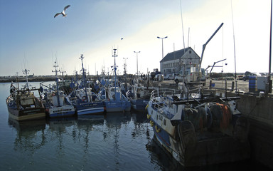Striking fishermen in south Finistere port of Saint Guenole demonstrate against rising fuel prices