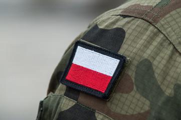 Polish national flag on military uniform
