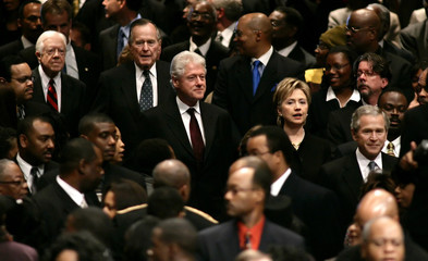 Former presidents join US President Bush at Coretta Scott King funeral service in Lithonia Georgia