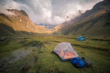 Campsite in valley by mountains, Ecuador, South America