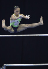 Brazil's Ethiene Franco competes on the uneven bars during the apparatus finals at the Artistic Gymnastics World Cup in Moscow