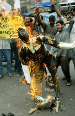 ACTIVISTS OF INDIAN MAIN OPPOSITION PARTY BURN EFFIGY OF INDIAN DEPUTYPRIME MINISTER LAL KRISHNA ...