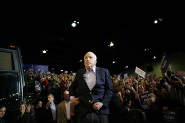 U.S. Republican presidential nominee Sen. John McCain stops as he leaves a rally in Toledo, Ohio