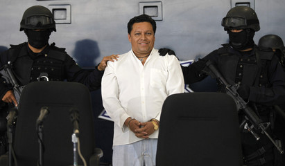 Mexican Federal Police present to the media Jose Mar Flores Pereira of Bolivia, the man accused of hijacking an AeroMexico plane in Mexico City
