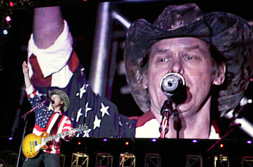 US singer Ted Nugent performs during the Rockin the Corps thank you concert for US Marines in ...