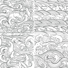 marine set: outline seamless patterns