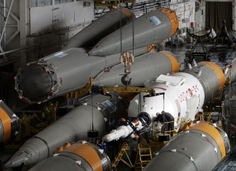 Parts of space crafts and rockets SOYUZ TMA are seen at the assembly department in Baikonur