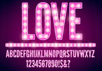 Pink Lightbulb Text Template