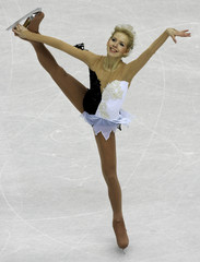 Pavuk performs in the women's short program during the Figure Skating competition at the Winter Olympic Games