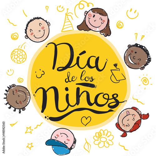 Happy kids smiling around spanish greeting for childrens day happy kids smiling around spanish greeting for childrens day vector illustration m4hsunfo