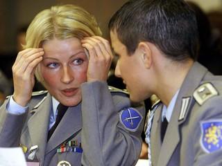 GERMAN WOMEN SOLDIERS TALK DURING MEETING IN BERLIN.