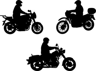 Fototapete - motorcyclists silhouette - vector