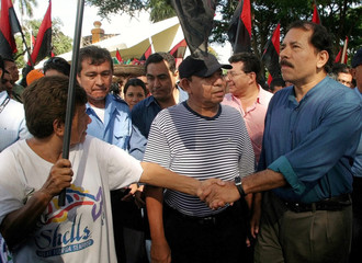 Sandinista leader Daniel Ortega greets supporters during celebrations of Nicaragua Father's Day ...