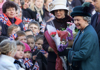 BRITAIN'S QUEEN ELIZABETH II SMILES AS SHE ARRIVES AT THE NORFOLKCONSTABULARY'S OPERATIONS AND ...