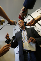 SPS President Fehr talks to journalists after a Party meeting about internal problems in Bern
