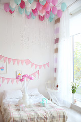 Interior of beautiful room decorated for birthday party
