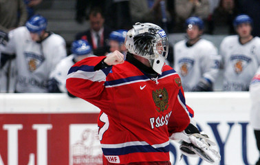 Sokolov of Russia celebrates after saving the deciding penalty at the Ice Hockey World Championship ...