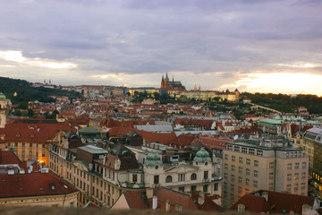 View of Prague at dawn