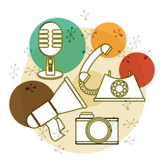 retro microphone, telephone, camera and horn speaker technology, vector illustration