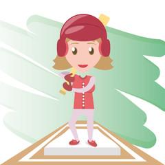 pretty woman athlete playing baseball, vector illustration