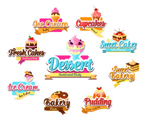 Bakery dessert, pastry and ice cream symbol set
