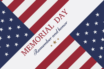 Happy memorial day. Greeting card with flag and soldier on background.