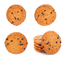Set of round cookies with chocolate