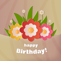 Happy Birthday greeting card. A realistic image that simulates paper.