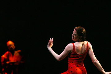 Spanish flamenco dancer and choreographer Maria Pages (R) performs during a rehearsal at Madrid's Al..