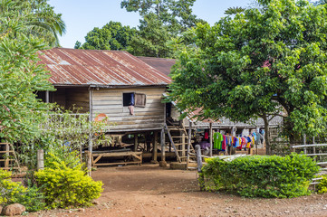 Typical wooden house in village in Laos