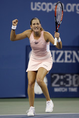 Shahar Peer of Israel celebrates in her third set tie-break against Nicole Vaidisova of the Czech Republic during their match at the U.S. Open tennis tournament in New York