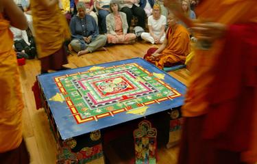 COMPLETED TIBETAN BUDDHIST SAND MANDALA PRIOR TO DISMANTLING.