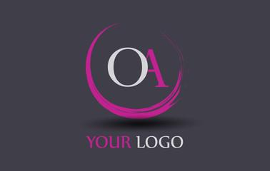 OA Letter Logo Circular Purple Splash Brush Concept.