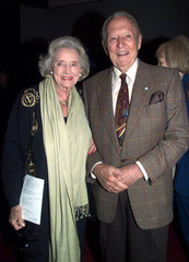 ART LINKLETTER AND DOLORES HOPE AT STEVE ALLEN MEMORIAL SERVICE.