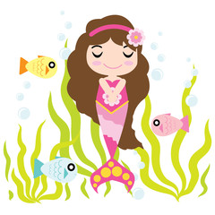 Cute mermaid girl is enjoying time in the water vector cartoon, kid postcard, wallpaper, and greeting card, T-shirt design for kids