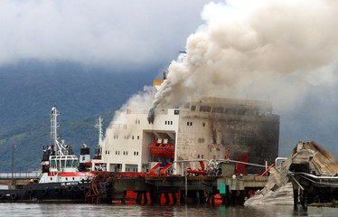 Smoke billows from the Vicuna vessel at the port of Paranagua in Brazil.
