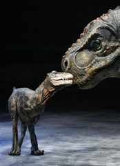 Animatronic model of a Tyrannosaurus and its baby perform in Sydney