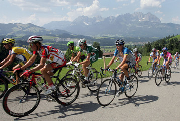 A pack of riders cycles during the third stage in the 58th Austrian cycling tour from Salzburg to Kitzbuehel