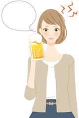 ストレス ビールを飲む女性 イラスト