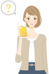 お酒を飲む女性 人物 ハテナ