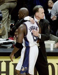 WIZARDS JORDAN WITH COACH COLLINS AFTER SCORING 51 POINTS.